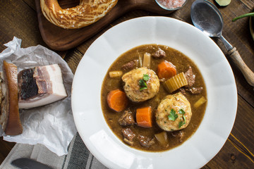 Venison Hunters Stew and Dumplings with Bacon and Onion