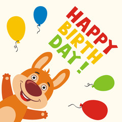 Happy birthday! Greeting card with funny rabbit and balloons in cartoon style.