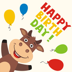 Happy birthday! Greeting card with funny bull and balloons in cartoon style.