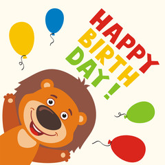 Happy birthday! Greeting card with funny lion and balloons in cartoon style.