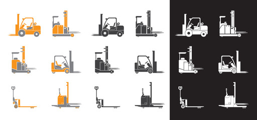 Set icons of loader equipment. Three versions. Isolated. Vector illustration