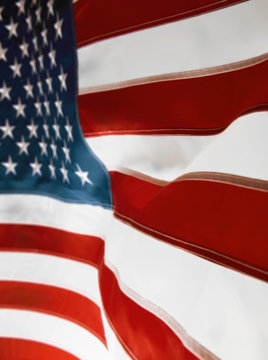 blurry background with a wriggling American flag