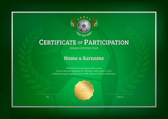 Certificate template in football sport theme with green background border frame, Diploma design