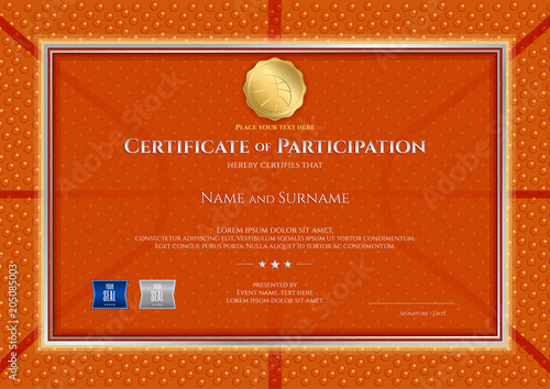 certificate template in basketball sport theme with ball background