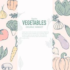 Farm vegetables vector poster.
