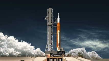 Fotomurales - Space Launch System Takes Off. Realistic 3D Animation. 4K. Ultra High Definition. 3840x2160.