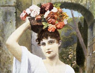 Hübsche junge Frau mit Blumenbouquet bzw. Korb auf dem Kopf
