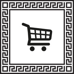 vector icon shopping cart in a frame with a Greek ornament