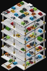 Vector isometric illustration of a multi storey car park and parked vehicles describing the internal structure of a multi-level parking garage.
