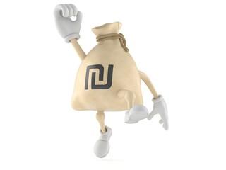 Shekel money bag character jumping in joy