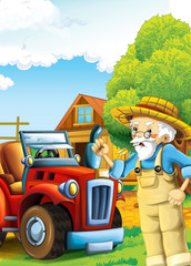 cartoon happy and funny farm scene with tractor and working farmer - car for different tasks - illustration for children