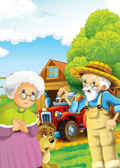 cartoon happy and funny farm scene with tractor and working farmer and his wife - car for different tasks - illustration for children