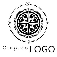 Black and white compass logo. Vector icon. Rose of Wind.
