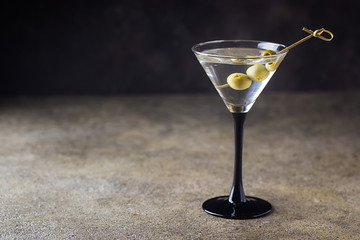 Cocktail martini with olives