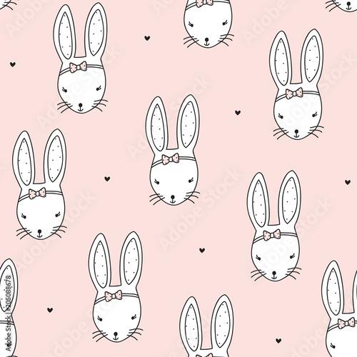 seamless peach pastel bunny rabbit pattern vector illustration