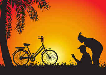Silhouette of young couple and bicycle on golden sunset background, vector illustration