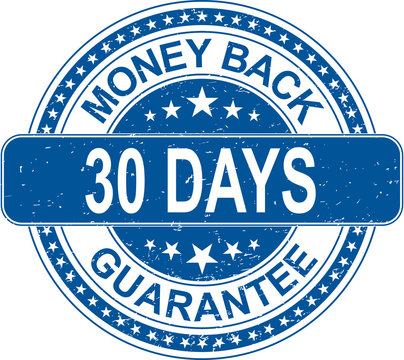 blue money back 30 days guarantee rubber stamp internet sign on white background