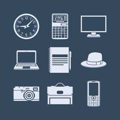 Flat design icons set of office equipment