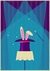 White rabbit in magical hat.Vector old poster of magic show