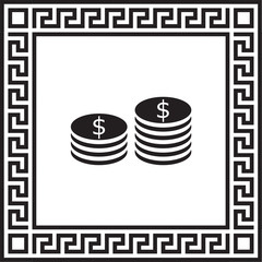 Vector icon money in a frame with a Greek ornament