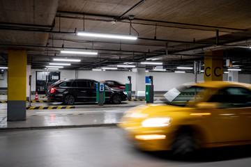 Underground parking garage in a shopping mall