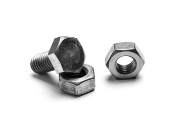 bolts and nuts isolated on white
