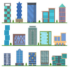 Cartoon Buildings Icons Set. Vector