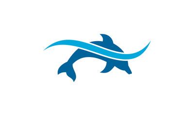 Dolphin logo design, fish logo vector with wave.