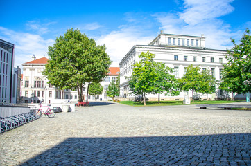 Famous old university square in Halle Saale