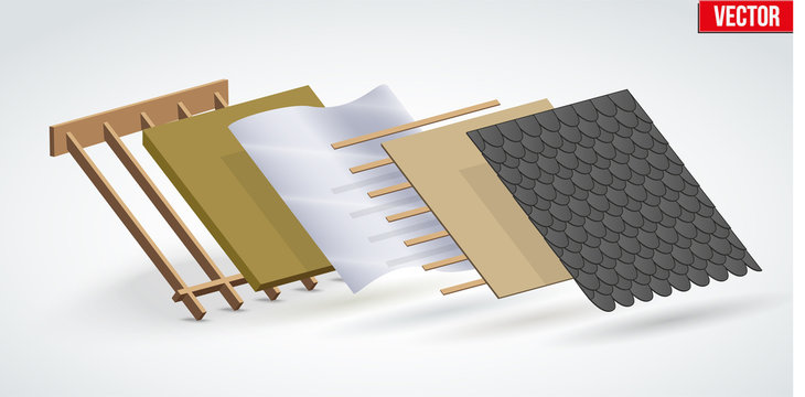 Demonstration of install roof cover black shingles in layers. Perspective view. Vector Illustration isolated on white background.