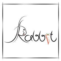Calligraphic writing of the word rabbit.