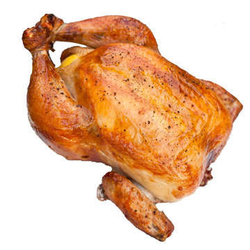 Roasted chicken on white background