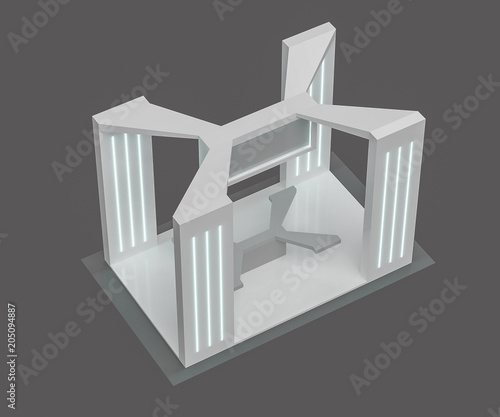 Exhibition Stand Free D Model : 3d rendering. blank creative exhibition stand design booth template