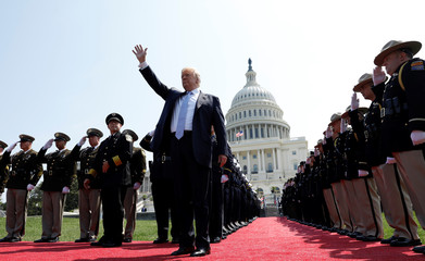 U.S. President Trump arrives at the 37th Annual National Peace Officers' Memorial Service at the U.S. Capitol in Washington