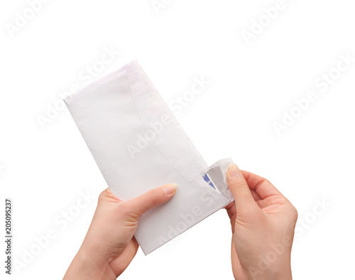 opening envelope close up top view of male hands opening envelope people hands