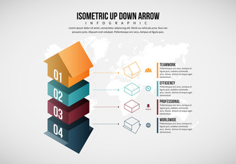 Four Step Up and Down Arrow Infographic Layout