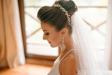Brides morning. Side view of beautiful bride woman with make up and long white veil sitting near he window on sunny day