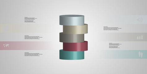3D illustration infographic template with cylinder horizontally sliced to five parts