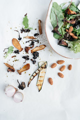 Ingredients for a healhy vegetable salad.