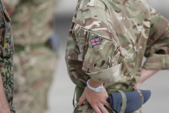 British flag on a RAF soldier uniform