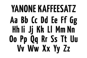 Yanone kaffeesatz font alphabet