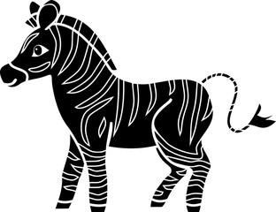 Black silhouette of cartoon zebra