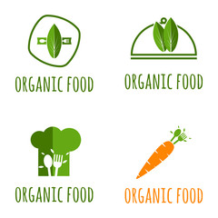 Organic Food Logo Vector Template Design Illustration