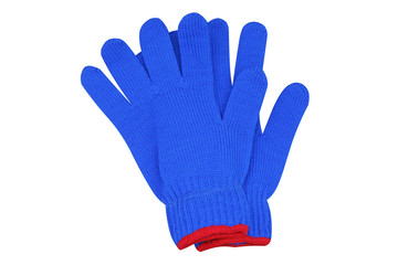 Blue woven gloves with red edge