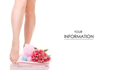 Female feet legs towel flowers bath sponge bubble bath beauty spa pattern