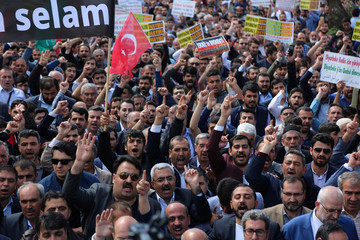 Pro-Palestinian demonstrators shout slogans during a protest against the U.S. embassy move to Jerusalem, in Diyarbakir