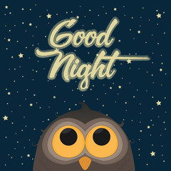 Cute Owl. Good Night Concept. Vector Illustration