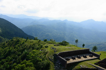 Remains of the French Citadelle la ferriere built on the top of a mountain, Haiti UNESCO site