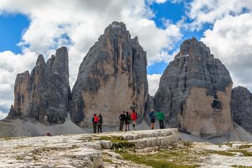 Blick auf die Drei Zinnen in Süd Tirol, Dolomiten, Italien