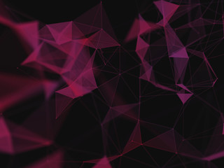 3d abstract background. Violet background with soft light. Purple music cover. Illustration  with lines, dots and triangles. Space galaxy backdrop.